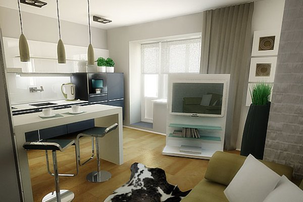 Как отделить визуально кухню в квартире-студии